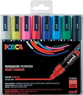 POSCA - Uni Mitsubishi Pencil - 8 Marqueurs PC5M - Pointe Conique - Couleurs Classiques - Posca Pointe Moyenne - Marqueurs...