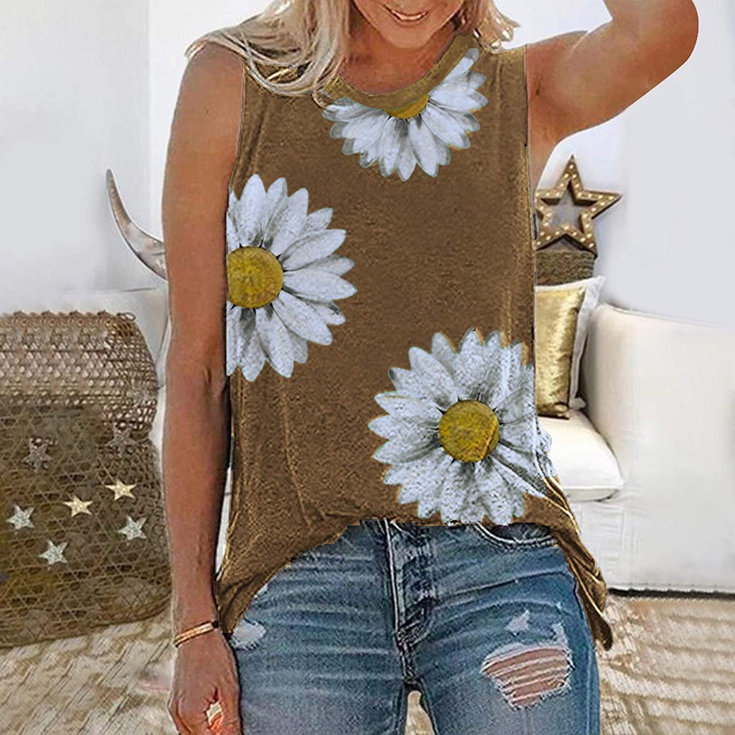 Gerichy Tank Tops for Women, Womens Summer Casual Sleeveless Plus Size Loose Fit Blouses Tees Tank Shirts Tunics Tops