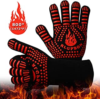BBQ Gloves 1472℉ Extreme Heat Resistant Gloves Grills, Cooking Gardening Oven Mitts, Oven Gloves, Silicone Insulate...
