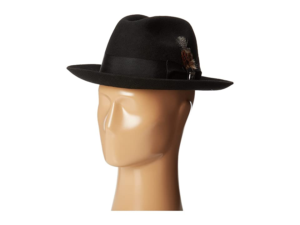 1940s Mens Hat Styles and History Stacy Adams Wool Felt Fedora w Grosgrain Band Black Fedora Hats $55.00 AT vintagedancer.com
