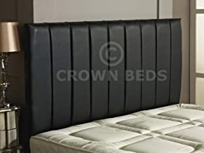 CROWNBEDSUK Quality Apollo Faux Leather HEADBOARD (Black, 6ft Super Kingsize)