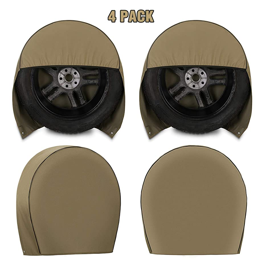 Kohree RV Tire Covers Set of 4 Heavy Duty 600D Oxford Motorhome Wheel Covers, Waterproof PVC Coating Tire Protectors for Trailer Truck Camper Auto, Fits 29