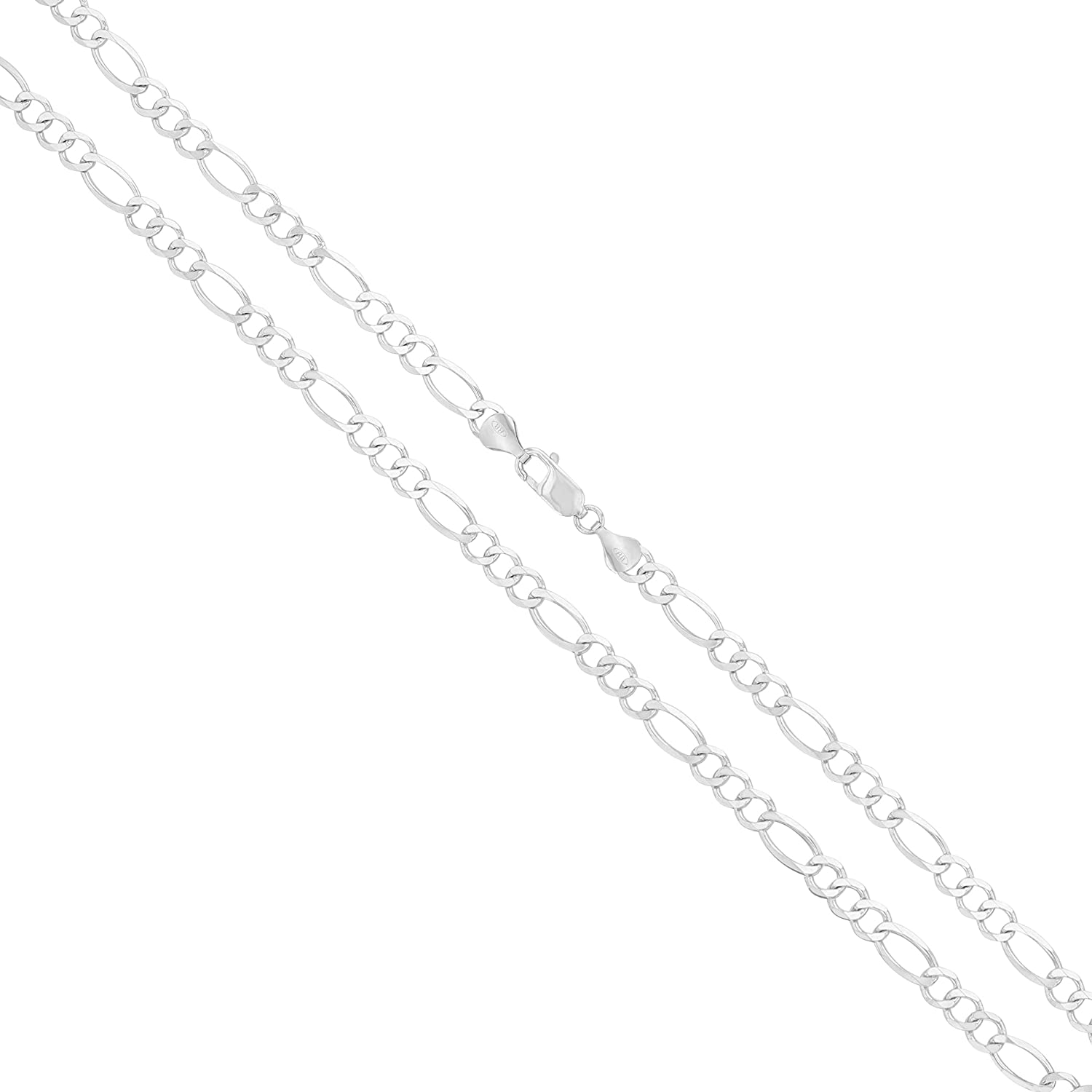 Joule Shop 10K Gold Chains - REAL Solid Yellow or White Gold Chain Necklace 3mm, 4mm, 5mm, 6mm, 7.5mm Figaro Link for Women and Men 16-30