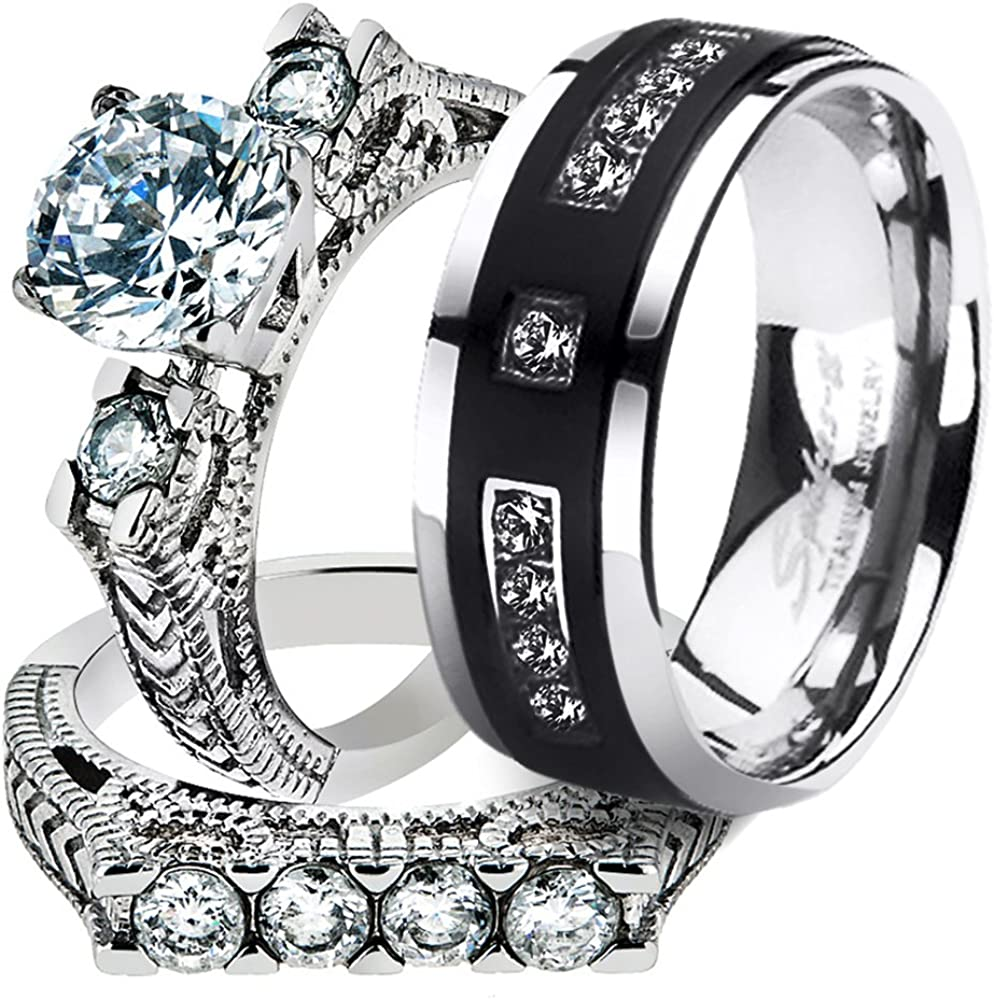 Marimor Jewelry His Ultra-Cheap Deals Her Stainless Steel Set low-pricing Ct Cz 2.95 Bridal