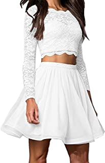 Little Star Women's Lace Short Prom Dress W/ Long Sleeve Piece Homecoming Ball Gown Gown