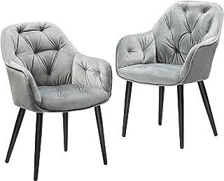 DICTAC Chaise de Salle à Manger lot de 2, Chaise de Cuisine Velours Chaise fauteuil de salle à manger en tissu, Gris Chais...