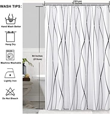 SOFJAGETQ Waterproof Shower Curtain Extra Long 72 x 84 Inches Modern Stripe Fabric Shower Curtains for Bathroom, Black and Wh