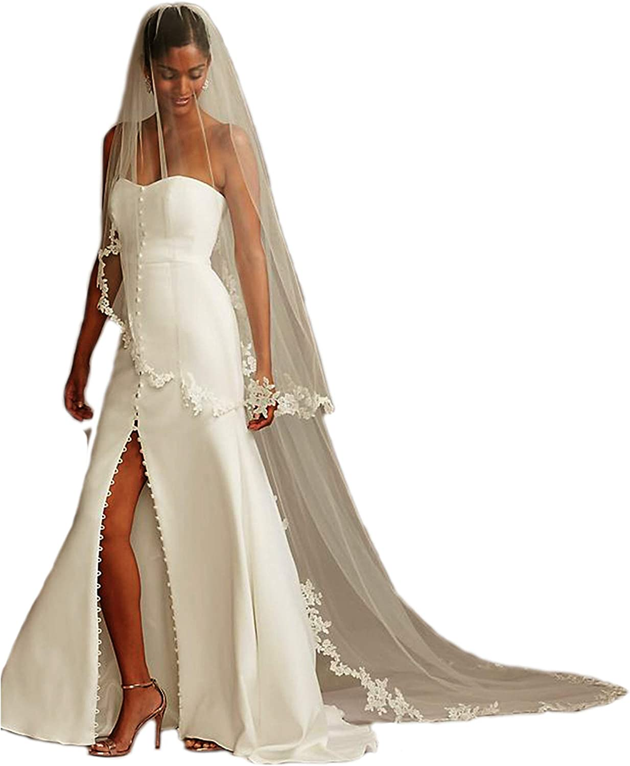 Passat 2M/3M Corded Lace Edge 2 Tier Ivory Lace Cathedral Wedding Veil Bridal Veil With Blusher 113