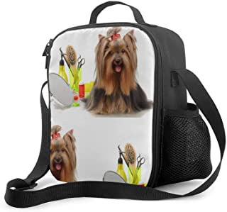 BO3ENYOU Yorkie Yorkshire Cute Dog Lunch Bag for Women/Men,Reusable Lunch Box for Office Work School Picnic Beach,Water-Re...