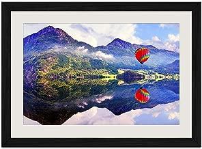 Beautiful Lake Hot air Balloon - Art Print Wall Black Wood Grain Framed Picture(16x12inches)
