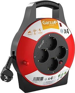 Garza Power - Enrollacables Doméstico de 5 metros con asa , 4 tomas Schuko
