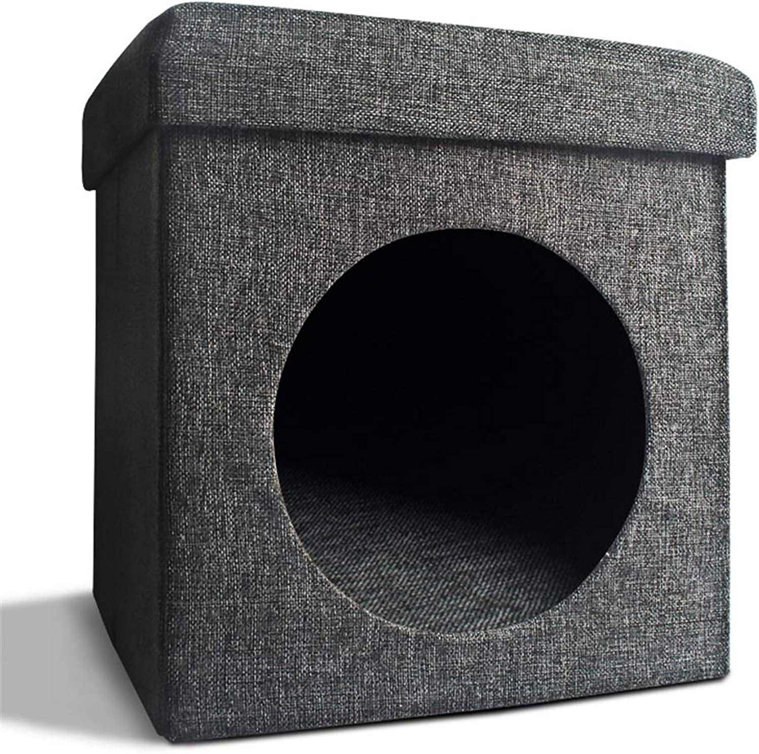 LIULAOHAN Pet musthave items Firm square cat hole nest creative folding sofa small stool living room cat hole nest closed cat litter cat room cat stool pet supplies (color   A)