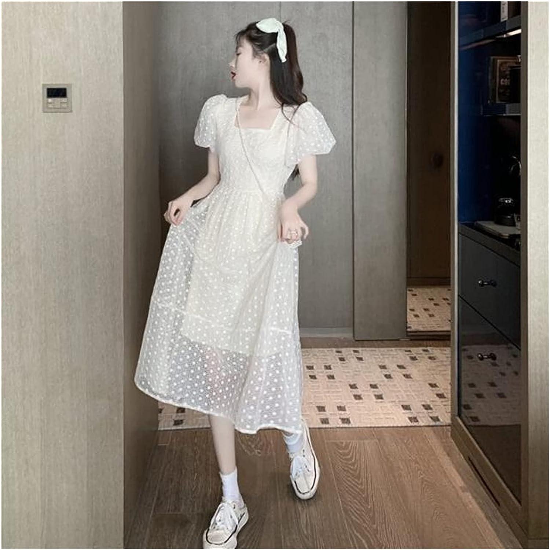 Uongfi Wedding Dresses for Bride Puff Sleeve Elegant Fairy Dress