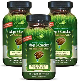 Irwin Naturals Mega-B Complex - 1,000 mcg B-12 - High Potency B-Vitamins with Quick Energy MCTs - 60 Liquid Softgels (Pack...