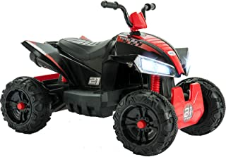 Uenjoy 12V Kids ATV 4 Wheeler Ride On Quad Battery Powered Electric ATV for Kids, 2 Speeds, Wheels Suspension, LED Lights, Music, Red Black
