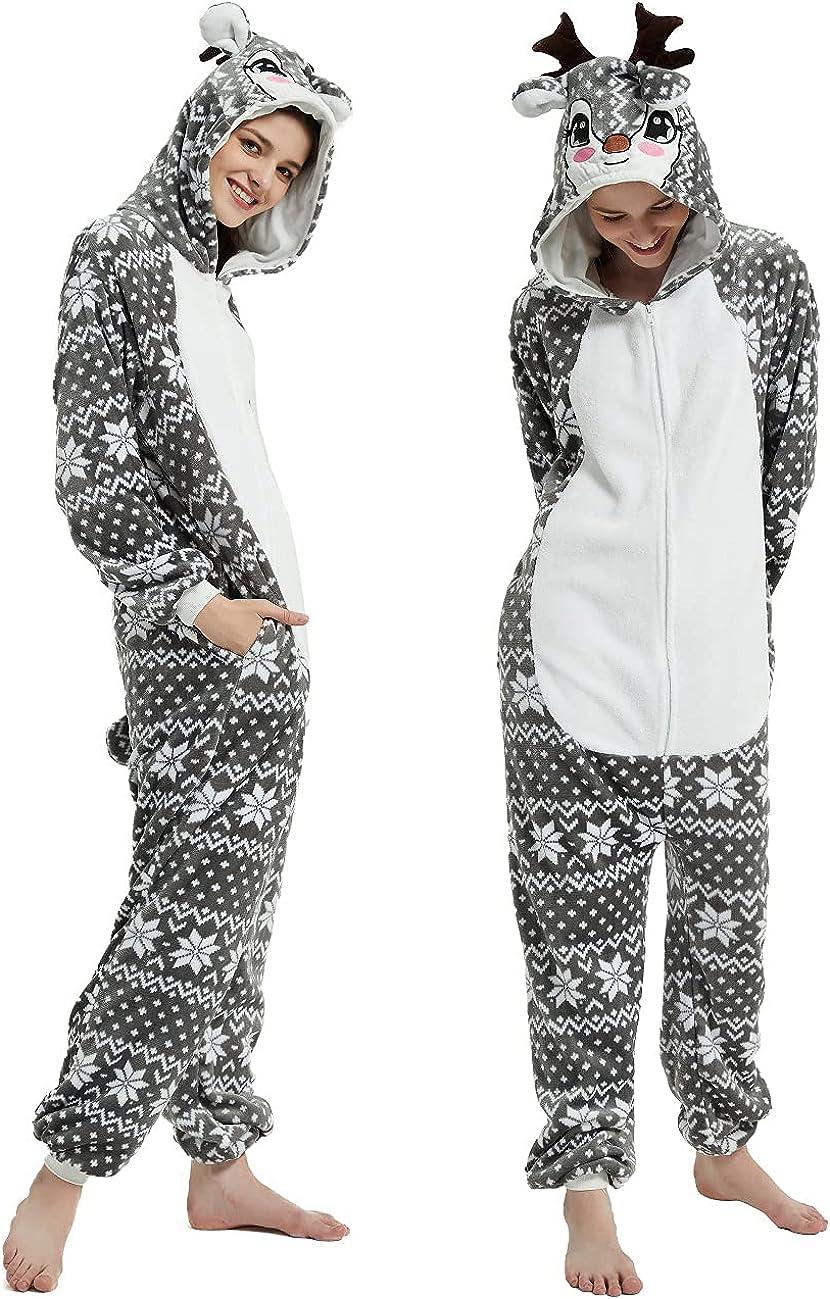LECAPO Reindeer Costume Deer Sale item Onesie Women for Adult free Me Halloween