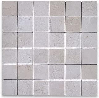 Crema Marfil Spanish Marble Square Mosaic Tile 2 x 2 Polished