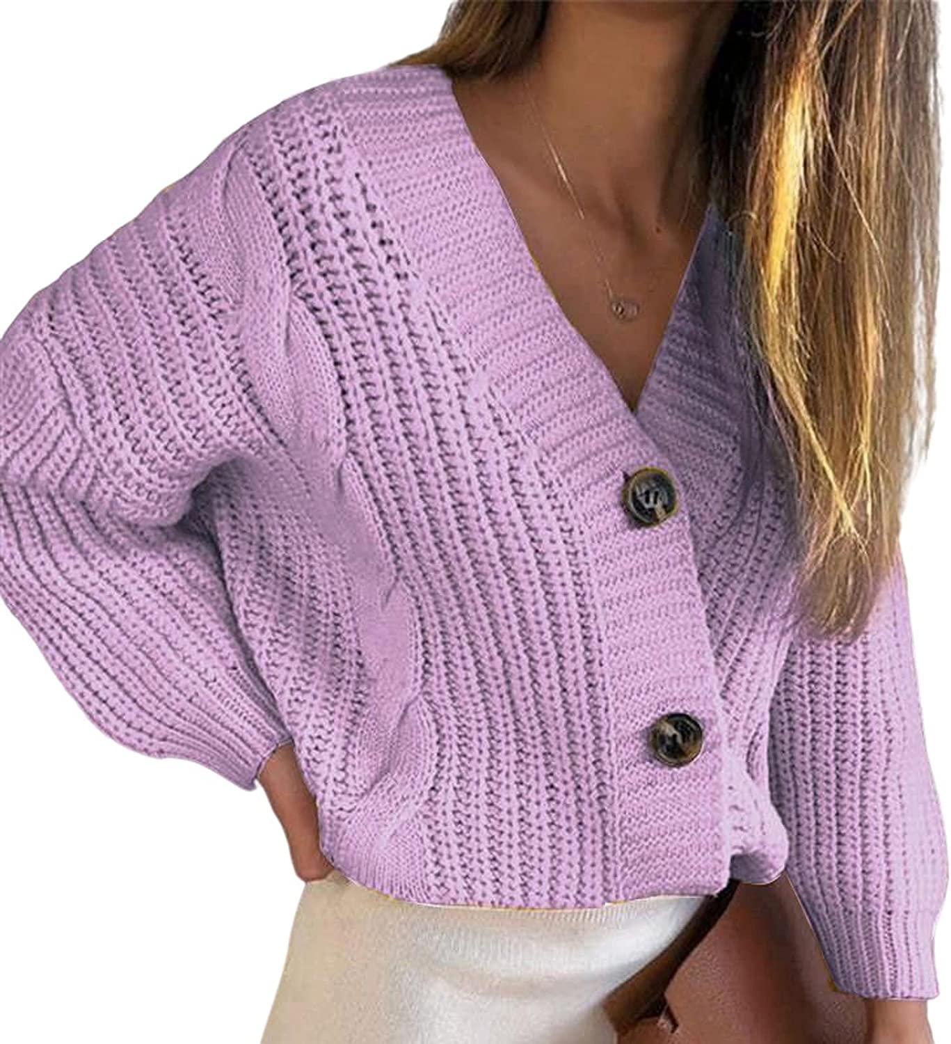 Sweater Cardigan Women V-Neck Buttons Thick Line Cardigans Sweater Blouse