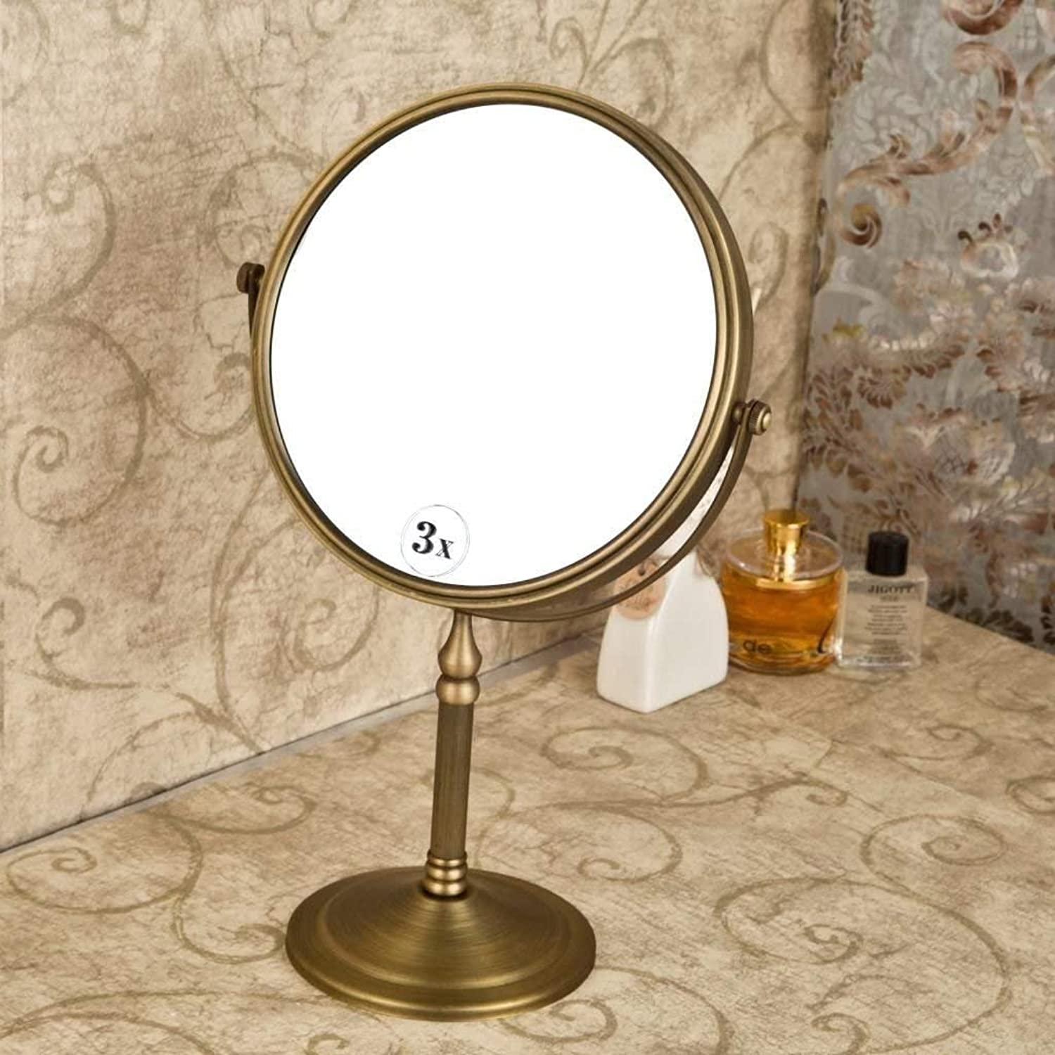 Mirror of Table in Antique Brass,3X Mirror of Vanity of Bathroom Mirror Two Sides