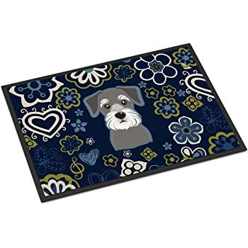 Carolines Treasures Blue Flowers Saint Bernard Floor Mat 19 x 27 Multicolor