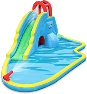 Deluxe Inflatable Water Slide Park – Heavy-Duty Nylon for Outdoor Fun - Climbing Wall, Slide, & Splash Pool – Easy to Set Up & Inflate with Included Air Pump & Carrying Case