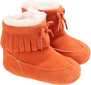 Baby Girls Tassel Suede Plush Snow Boots Ankle Booties Winter Fur Walking Shoes