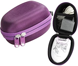 Fits Philips HP6401 Satinelle Epilator Electric Shaver Travel EVA Hard Protective Case Carrying Pouch Cover Bag Purple by ...