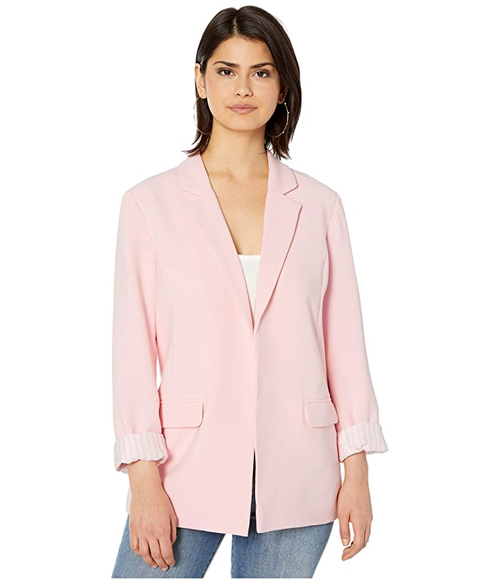 Cupcakes and Cashmere  Siri Rolled Sleeve Rayon Blazer with Striped Lining (Strawberry Cream) Womens Clothing