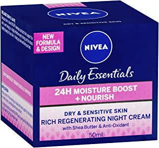 NIVEA Daily Essentials 24 Hour Moisture Boost + Nourishing, Rich Regenerating, Moisturising Night Cream with Shea Butter & Anti-Oxidants for Dry & Sensitive Skin 50ml