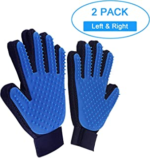 Homesun 2Pack Pet Grooming Glove Hair Removal Gentle Brush for Pet Dogs Cat Hair Removal Mitt (Blue)