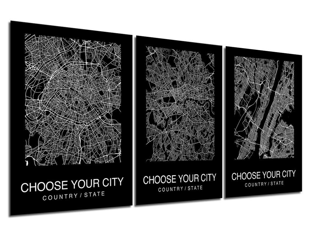 Custom Map Wall Art Max 62% OFF Print Poster Street 3 City Challenge the lowest price of Japan Pieces Black