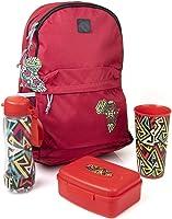 طقم حقيبة ظهر ولانش بوكس مع زجاجة وكوب لمشجعي كأس الامم الافريقية للجنسين من مينترا، 4 قطع - فوشيا