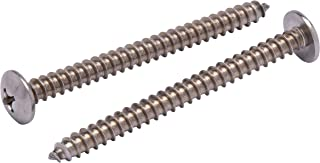"#14 X 3"" Stainless Truss Head Phillips Wood Screw (25pc) 18-8 (304) Stainless Steel Screws by Bolt Dropper"