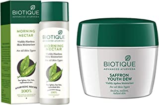 Biotique Morning Nectar Flawless Skin Lotion for All Skin Types, 190ml And Biotique Bio Saffron Dew Youthful Nourishing Da...
