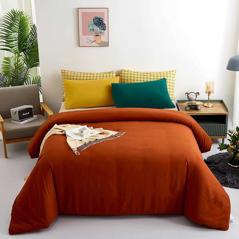 KAREVER Rust Comforter Sets King Pure Burnt Orange Caramel Color Rust Bedding Set 3 Pieces Women Men Lightweight Solid Burnt Orange Color Rust Blanket Comforter Sets : Everything Else