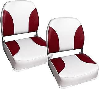 [Pro.tec] 2x asientos de barco / de cabina, de piel sintética, resistente al agua / tapizados / Resistente a rayos UVA / plegables (rojo - blanco)