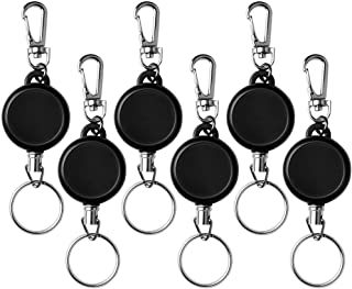 Retractable Keychain Akamino 6 Pcs Retractable Badge Holder Reel with Belt Clip and Key Ring for ID Card