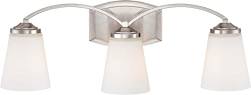 discount Minka Lavery Wall Light discount Fixtures 6963-84 Overland Park Glass outlet sale Bath Vanity Lighting, 3 Light, Nickel sale