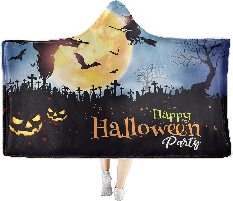 Pumpkin Moon Happy Halloween Wearable Large discharge sale Blanket Cozy Soft Ranking TOP2 T Hooded