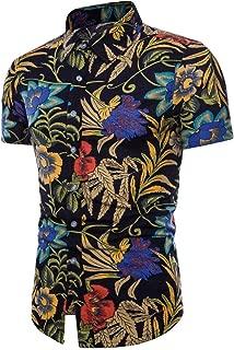Sale! Teresamoon Men Summer Bohe Floral Short Sleeve Linen Basic T Shirt Blouse Top Plus Size