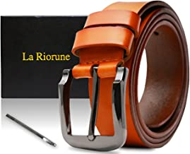 Riorune Men's belt leather leather casual business (Camel)