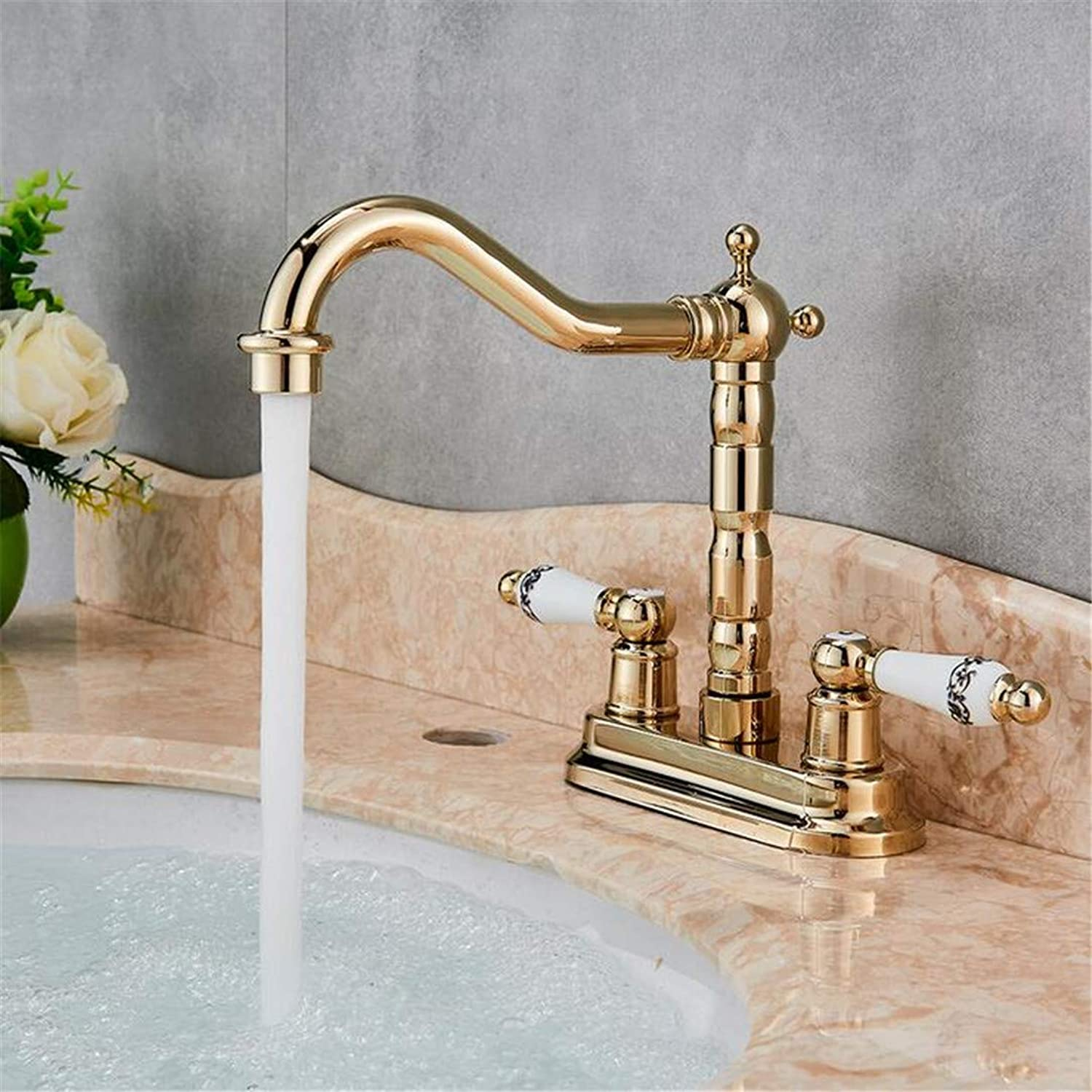 Faucet Washbasin Mixer Dual Handle Swivel Bathroom Kitchen Sink Faucet Antique Brass golden Polish Mixer Tap with Hot and Cold Water Deck Mounted