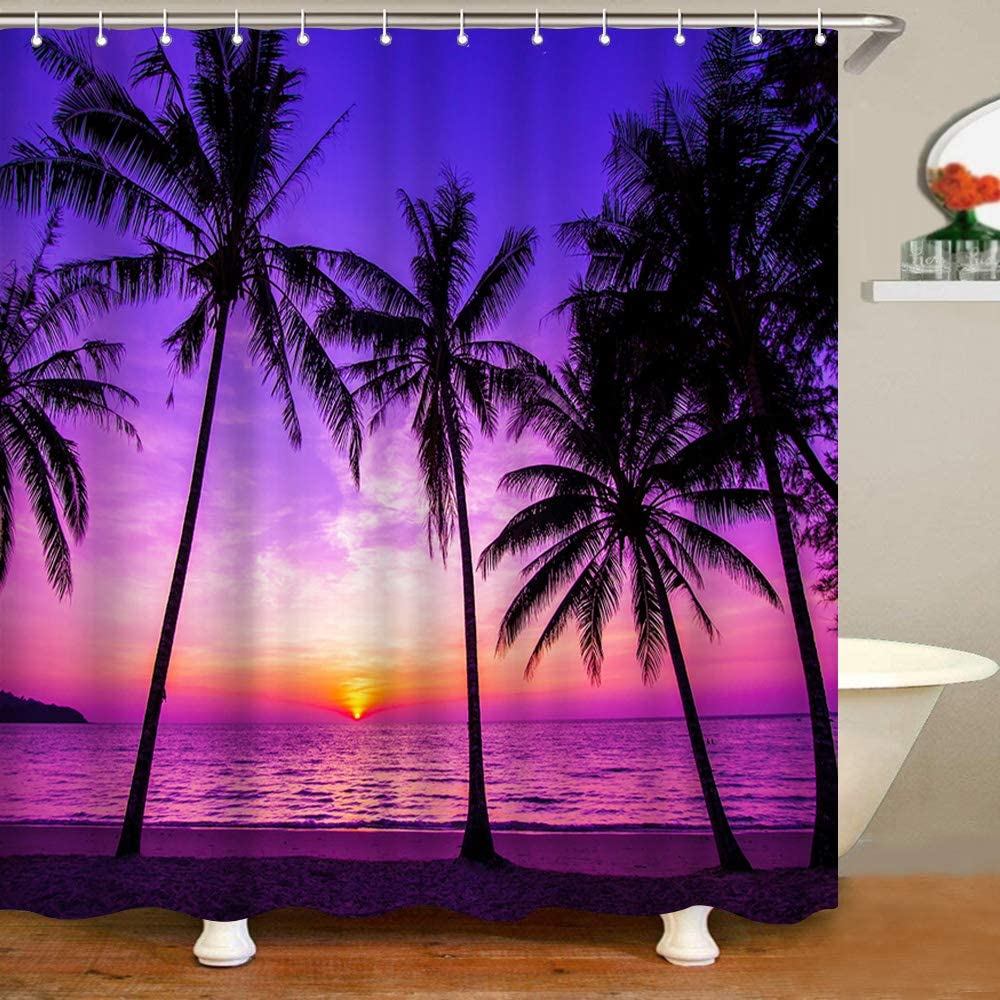VividHome Sunset Beach Shower Curtain Palm gift Tropical Tree Genuine Free Shipping Landsca