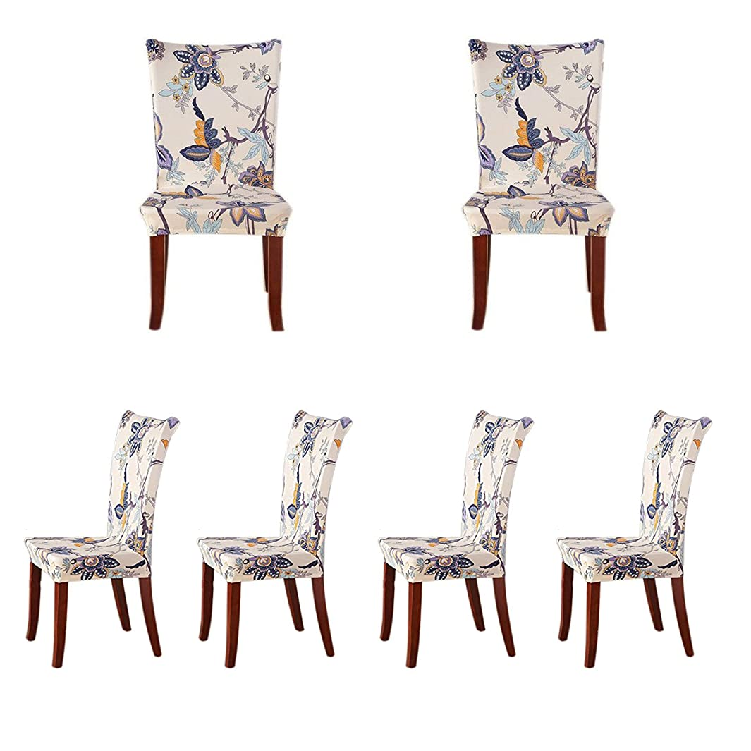 SoulFeel 6 x Soft Spandex Fit Stretch Short Dining Room Covers with Printed Pattern, Banquet Chair Seat Protector Slipcover for Home Party Hotel Wedding Ceremony (Style 26), Pack of 6,