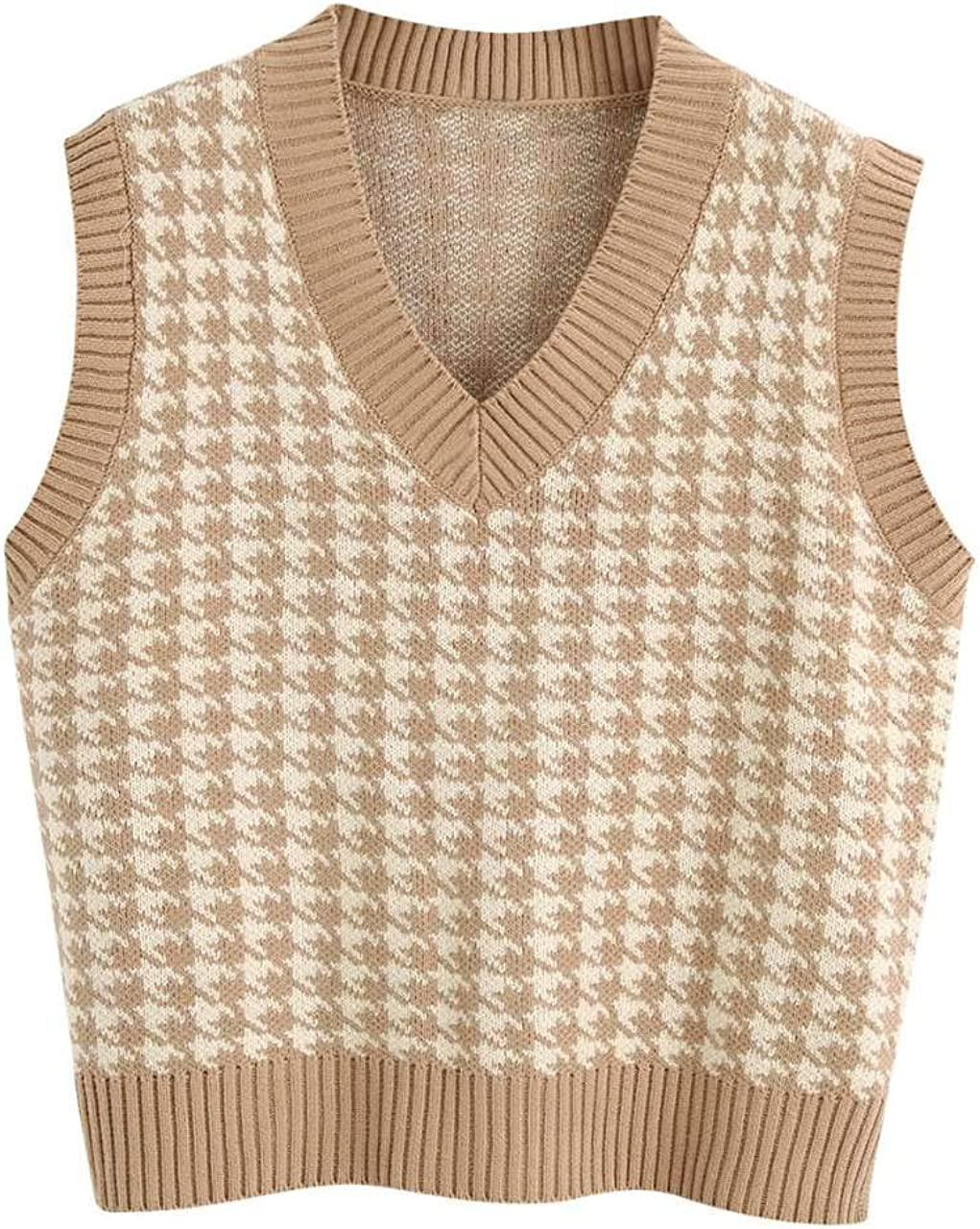 Haojiari Womens Solid Casual Knitted Pullover Sweater Vest V-Neck Sleeveless Cable Knit Tank Tops for Spring Fall Winter