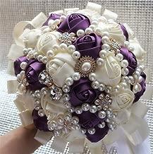 FYSTORE Hand Made Diamond Pearl Silk Roses Bridesmaid Bridal Artificial Bouquets Customization Bride Holding Bouquet Durable Wedding Corsage Flower,18cm (Ivory+Dark Purple)