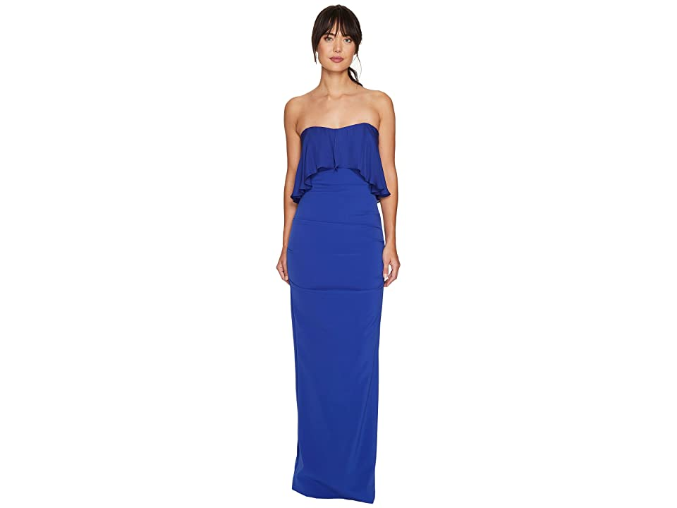 Nicole Miller Techy Crepe Strapless Gown w/ Flare (Blueberry) Women