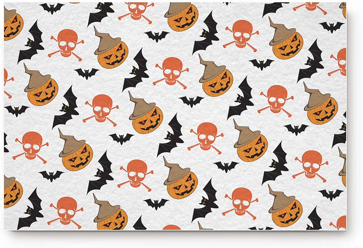 Karola Happy Halloween Pumpkin and Bat Doormat Entrance Mat Floor Mat Rug Indoor Bathroom Mats Home Decor Mat with Non Slip Backing 20  x 32