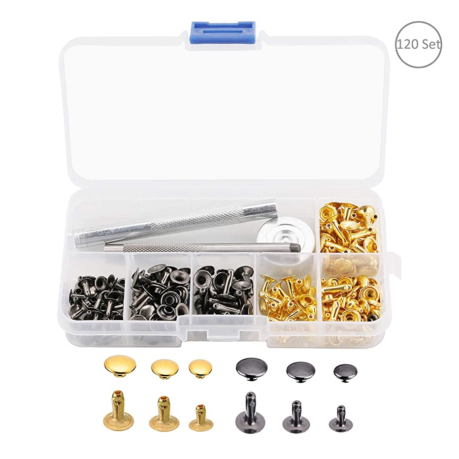 OOTSR 120 Set Leather Rivets, Single Cap Rivets Tubular Metal Studs with Fixing Tool Kit for Backpacks Belts Jeans Leather Craft Rivets Replacement, 3 Size