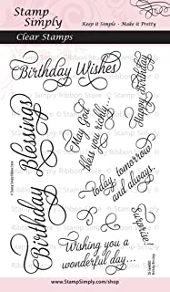 Stamp Simply Clear Stamps Birthday Blessings 4x6 Inch Sheet - 10 Pieces